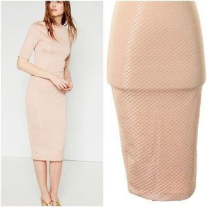 ZARA TEXTURED V-BACK MIDI SHEATH DRESS